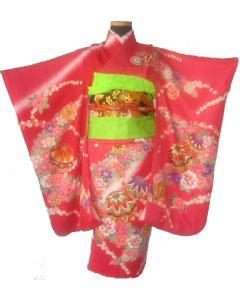 桃花+黒花紋帯-晴れ着レンタル
