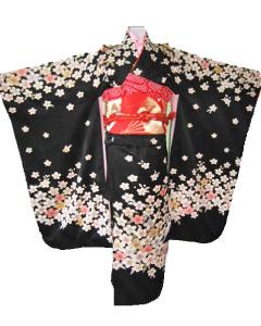 黒桜+赤金扇帯7才晴れ着レンタル