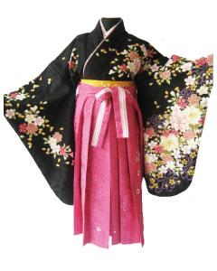 3.黒彩桜+マゼンダレース刺繍袴