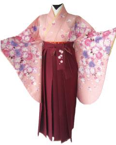 4.桃紫八重桜+ワイン鹿の子刺繍袴