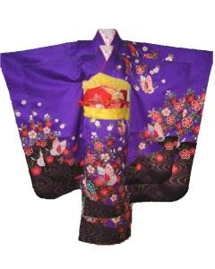 紫蝶+赤蝶帯-7才晴れ着レンタル
