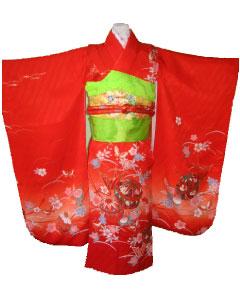 赤毬+金桜結び帯-7才晴れ着レンタル