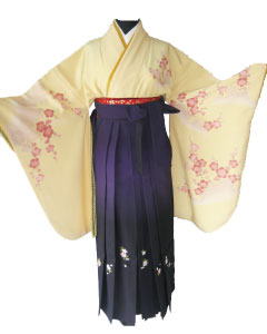 5.黄紅梅+紫ぼかし刺繍袴