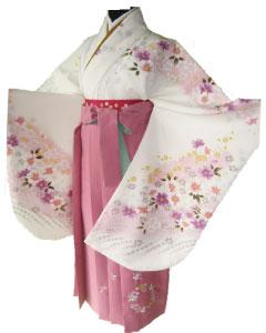 6.白秋桜+ピンク花輪刺繍袴