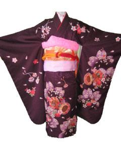 紫桜鼓+橙亀甲帯-7才晴れ着レンタル
