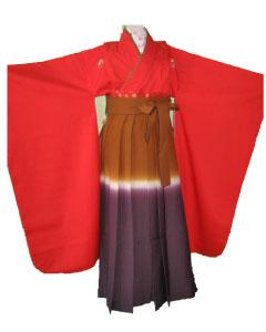 赤花紋+紫茶ぽかし袴-7才袴レンタル