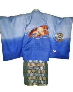 7.青刺繍鷹+紺杉枝袴