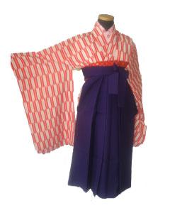 8赤矢絣+紫袴-7才袴レンタル