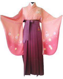 8.桃撫子+紫ぼかし撫子刺繍袴