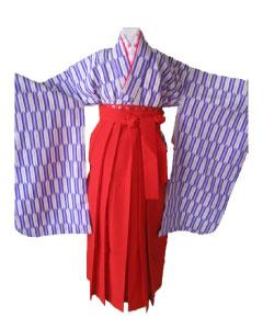 紫矢絣+朱袴-7才袴レンタル