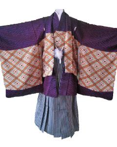 9.紫紗綾型+黒縞袴