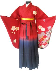 9.赤大桜+赤紺ぼかし袴