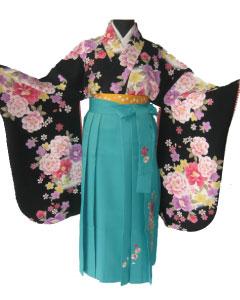 1.黒赤格子牡丹+緑刺繍袴