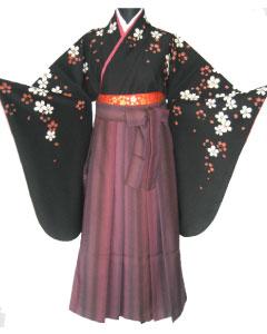 10.黒紅白桜+ワイン縞ぼかし袴