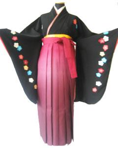 12.黒大梅刺繍+ワインぽかし袴