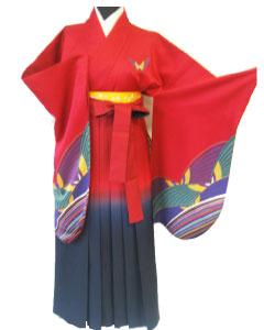 13.赤蝶+赤紺ぽかし袴