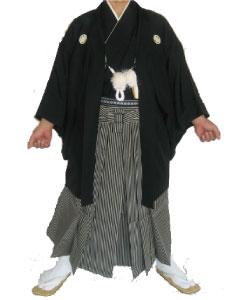 13.黒羽織黒灰縞袴