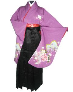 15.紫友禅桜+黒縞袴