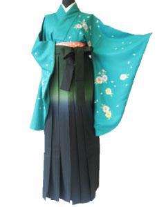 16.-緑撫子+緑紺ぼかし.袴