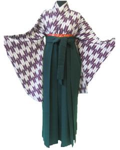 17.紫矢絣+緑袴