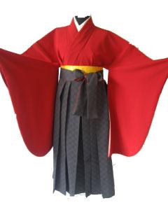 19.赤+グレイ市松袴