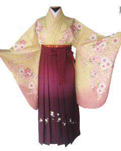 2黄桃桜、ワインぼかし刺繍袴