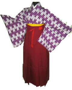 20.紫矢絣+えんじ袴
