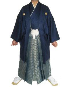 4.紺市松青金紋袴