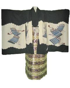 6.黒兜+紫白縞金波袴