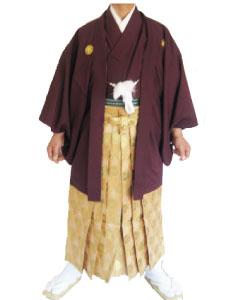 6.赤紫羽織金茶袴