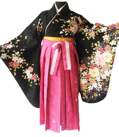-1.黒彩桜+マゼンダレース刺繍袴
