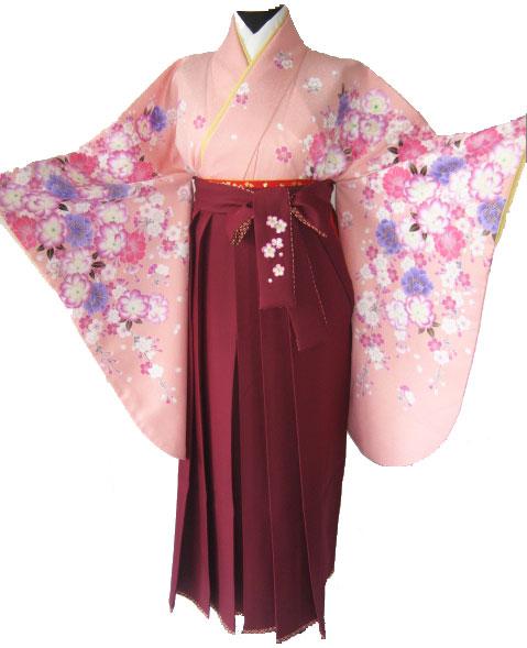 4-1.桃紫八重桜+ワイン鹿の子刺繍袴