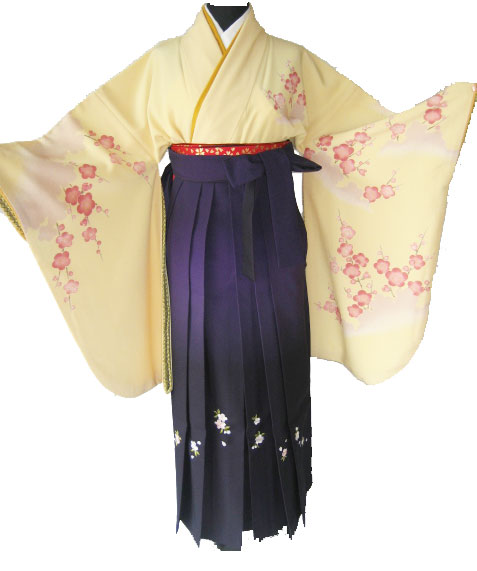 5-1.黄紅梅+紫ぼかし刺繍袴