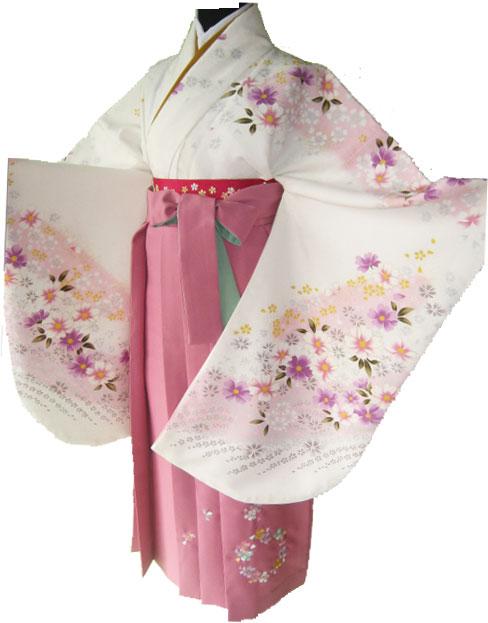 6-1.白秋桜+ピンク花輪刺繍袴