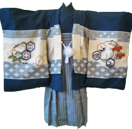 鷹+黒梯子縞袴