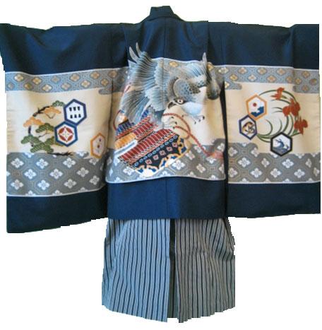 紺鷹+黒梯子縞袴