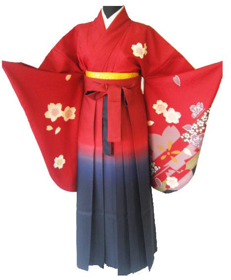 9-1.赤大桜+赤紺ぼかし袴