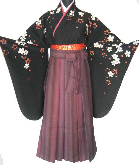 10-1.黒紅白桜+ワイン縞ぼかし袴