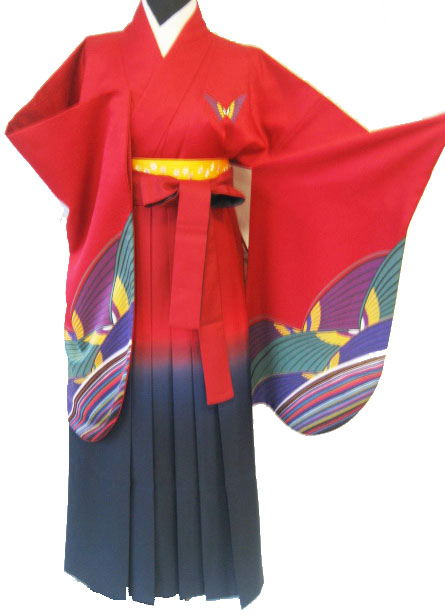 13-1.赤蝶+赤紺ぽかし袴
