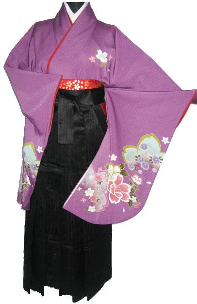 15-1.紫友禅桜+黒縞袴