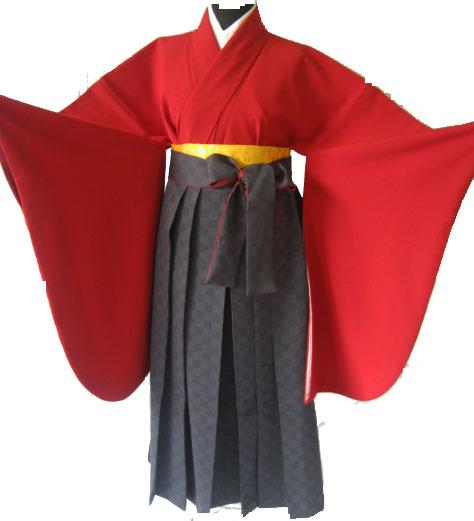 19-1.赤+グレイ市松袴