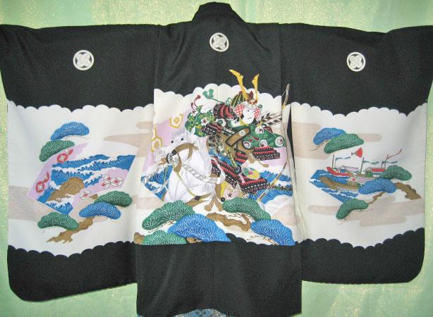 黒武士+青緑金菱袴