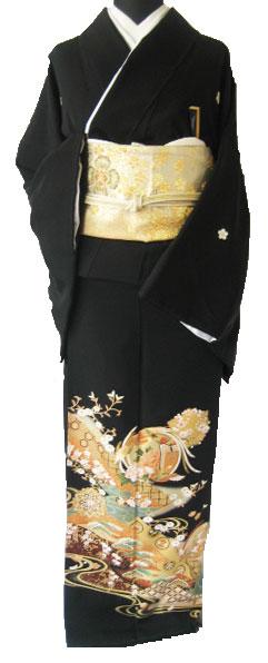 着物レンタル黒留袖貸衣装1.鳳凰花紋