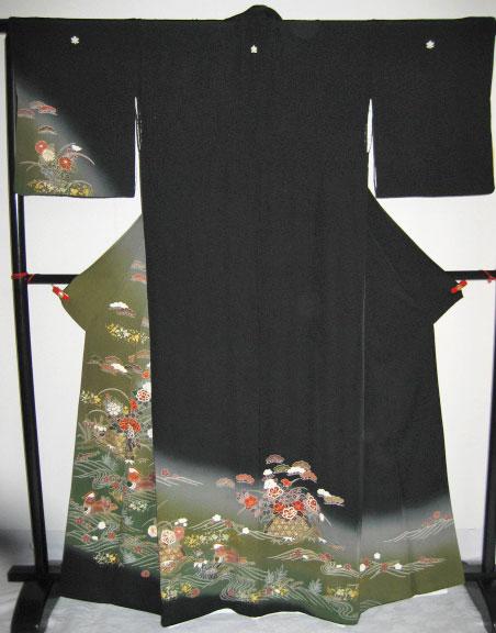 着物レンタル 黒留袖貸衣装/12.振抹茶オシドリ