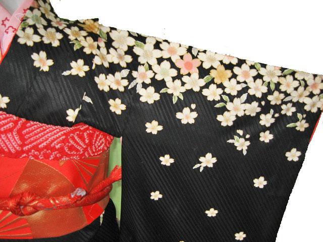 黒桜+赤金扇帯7才女児晴れ着貸衣装
