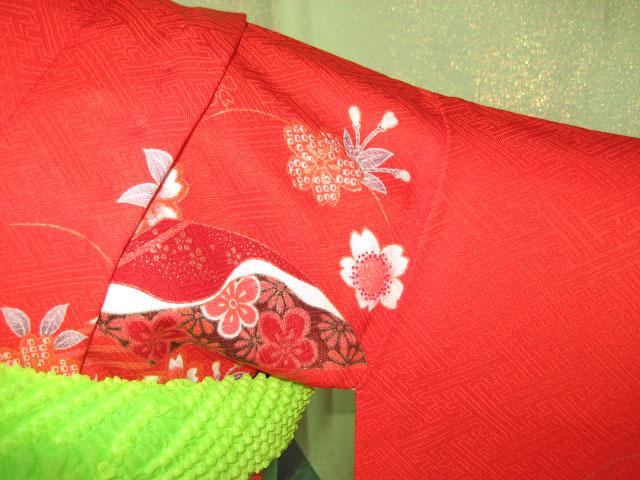 赤扇+緑亀甲帯7才女児晴れ着貸衣装