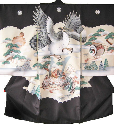 男児宮参り初着貸衣装4黒鷹兜