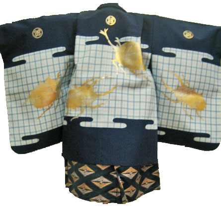 紺カブト虫+紺鶴菱袴