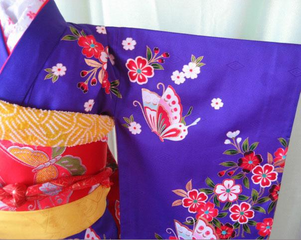 紫蝶+赤蝶帯7才女児晴れ着貸衣装