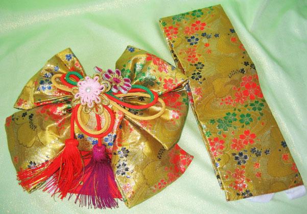 赤毬+金桜結び帯7才女児晴れ着貸衣装